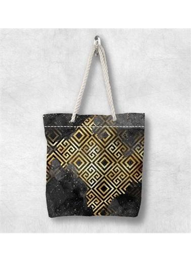 Else Halı Siyah Sarı Kilit 3D Desenli Fermuarlı Kumaş Omuz Çantası Renkli
